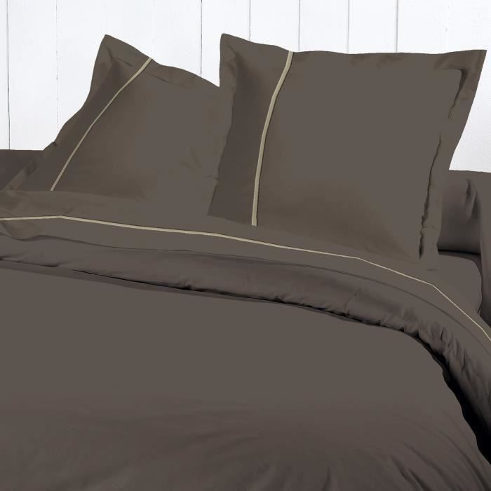 DAVID OLIVIER Housse Couette 220x240 Percale CHOCO pour 35€