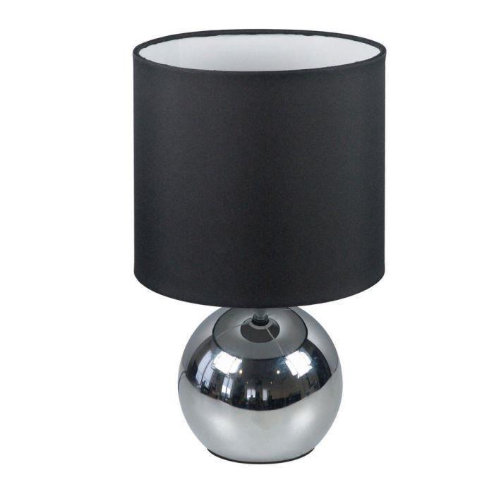 Lampe Touch 3 intensités, chrome, abat-jour tissu pour 13€