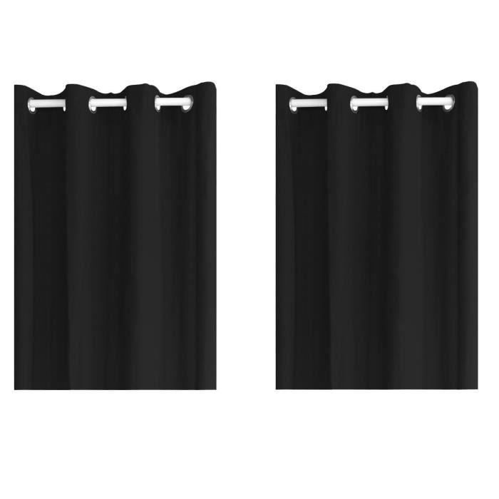 paire de rideaux PANAMA 100% coton noir pour 20€