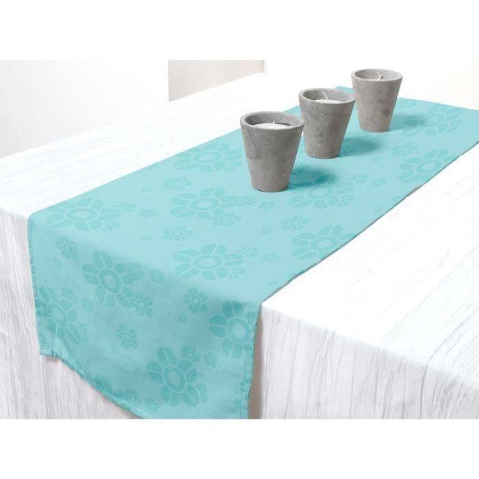 Chemin de table FLOWER Turquoise 40x140cm pour 7€