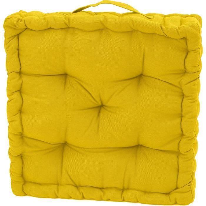 Coussin de sol serge jaune 40x40x10 pour 7€