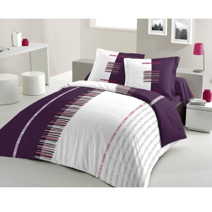 Housse 220x240 + 2 Taies PERTINENCE PRUNE pour 25€