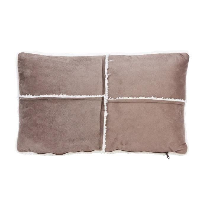 Coussin patchwork - Sherpa - 30*50 cm - Taupe pour 7€