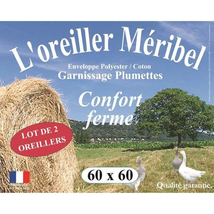 Lot de 2 Oreillers MERIBEL Plumettes 60x60cm pour 25€