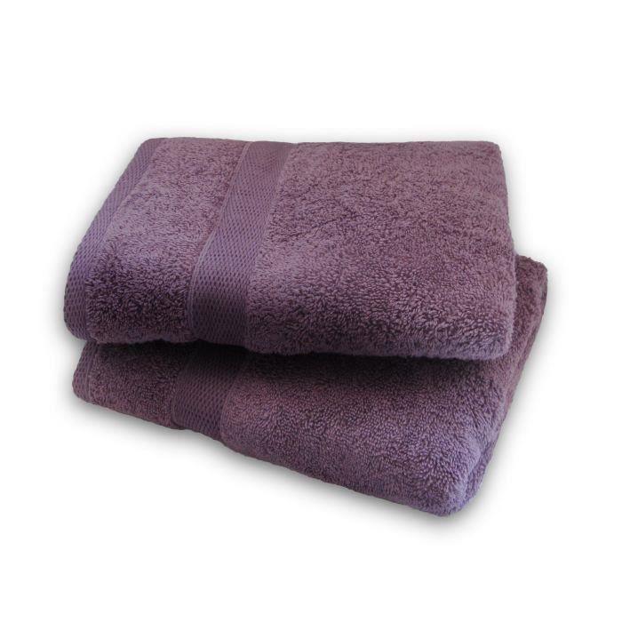 Set 2 serviettes 50x100cm MISTY MAUVE pour 9€