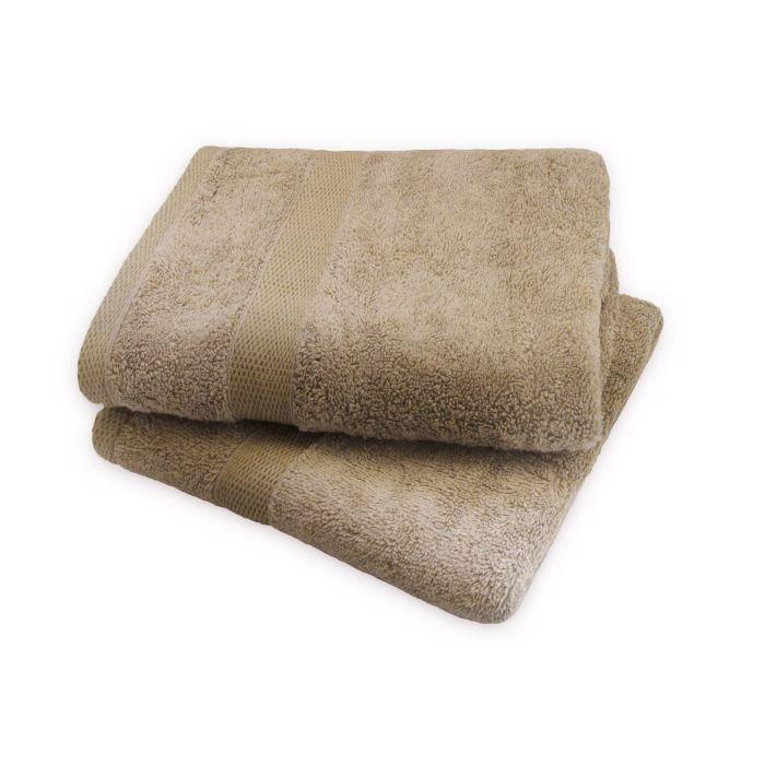 Set 2 serviettes 50x100cm CAPPUCCINO pour 10€