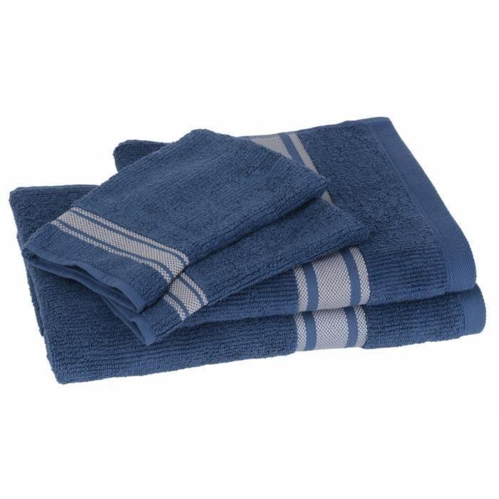 Lot de 1 drap + 1 serviette + 2 gants ZEN BLEU pour 20€