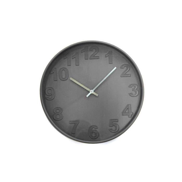 Horloge chiffres embosses 36cm gris pour 10€
