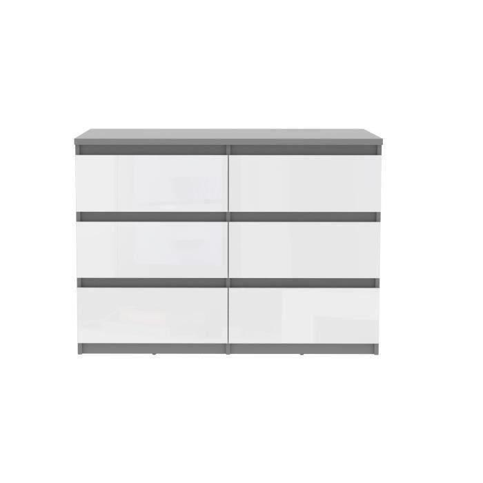 CHELSEA Commode 6 tiroirs gris/blanc brillant pour 151€