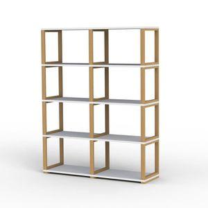 etagere 8 cases blanche pietement ch ne moncornerdeco. Black Bedroom Furniture Sets. Home Design Ideas
