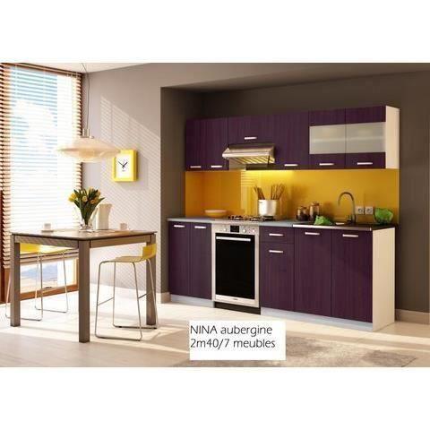 Cuisine compl te nina aubergine 2m40 7 meubles cuisine electro bon prix moncornerdeco for Cuisine complete violet