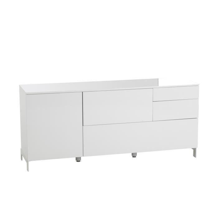 Bahut lincoln 1 porte 4 tiroirs laqu blanc 160cm meubles bon prix monc - Tablette blanc laque ...