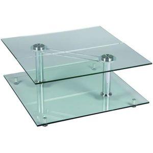Les concepteurs artistiques table basse carree inox et verre - Table basse verre carree ...