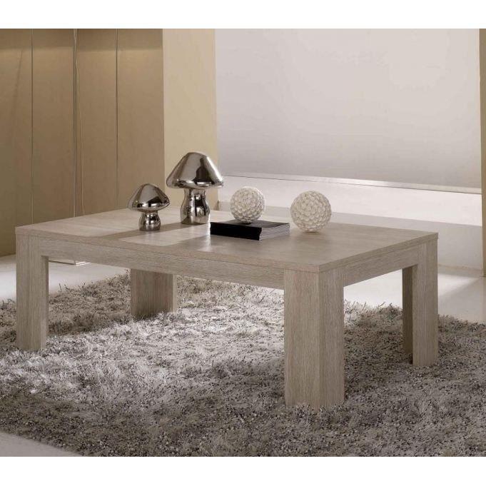 Table basse pisa blanchi salon salle manger bon for Table de chevet malm chene blanchi