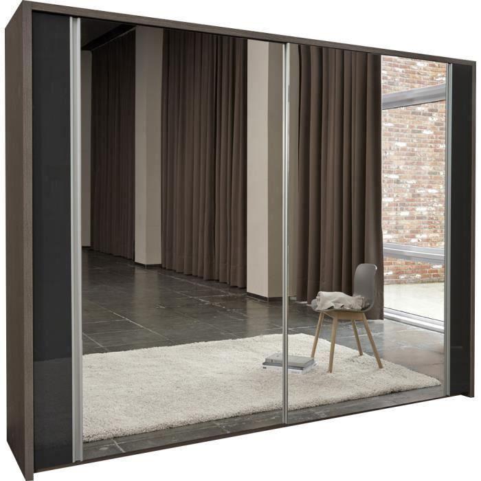 Armoire 284 cm avec miroir coloris ch ne fonc et gris brillant moncornerdeco - Armoire chambre avec miroir ...