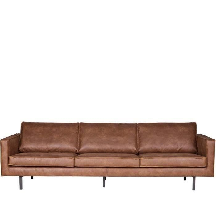 Grand canap york structure en cuir synth tique marron for Grand canape 5 places