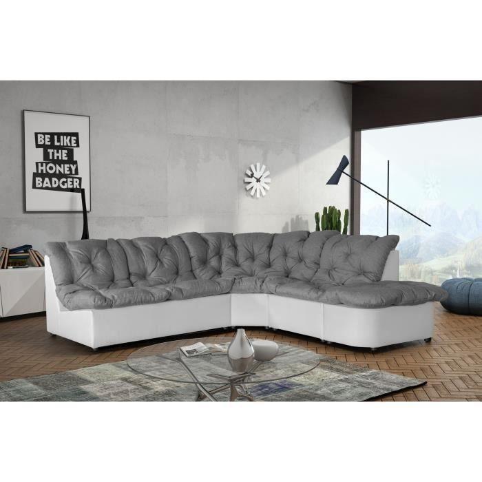 canap d 39 angle modulable 5 places gris clair et moncornerdeco. Black Bedroom Furniture Sets. Home Design Ideas