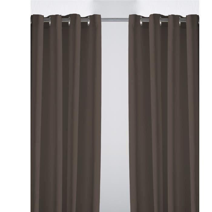 paire de rideaux su dine cacao 140 x 240 cm moncornerdeco. Black Bedroom Furniture Sets. Home Design Ideas