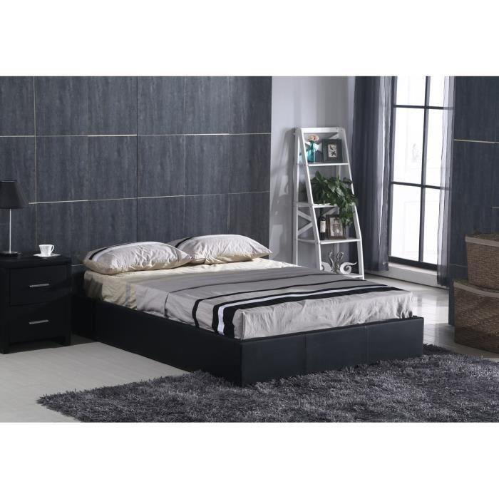 premier lit adulte avec coffre 160x200 cm en simili noir sommier inclus moncornerdeco. Black Bedroom Furniture Sets. Home Design Ideas