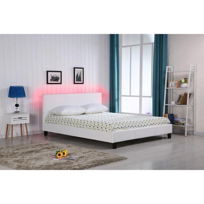 Vegas lit adulte en simili blanc 160x200cm sommier t te de lit avec clairage led - Chambre adulte eclairage ...