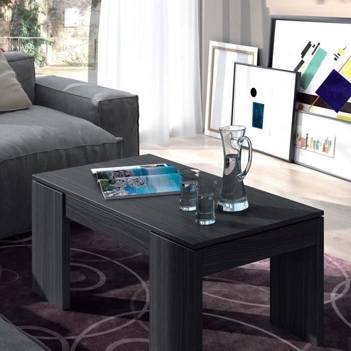 Mcd Kendra table basse grise transformable, plateau relevable - pas