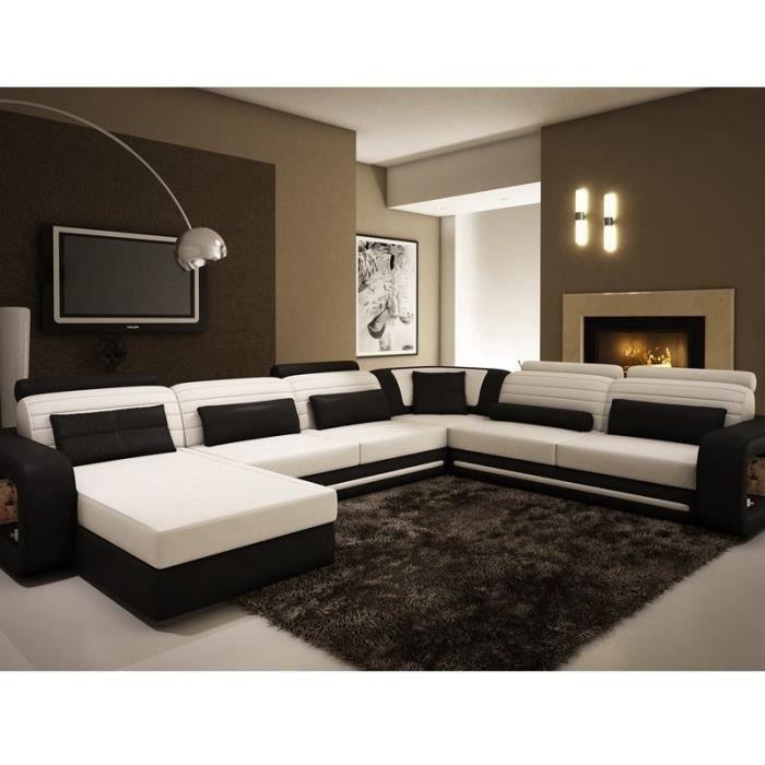 canap d 39 angle gauche panoramique cuir noir blanc salon salle manger bon prix. Black Bedroom Furniture Sets. Home Design Ideas