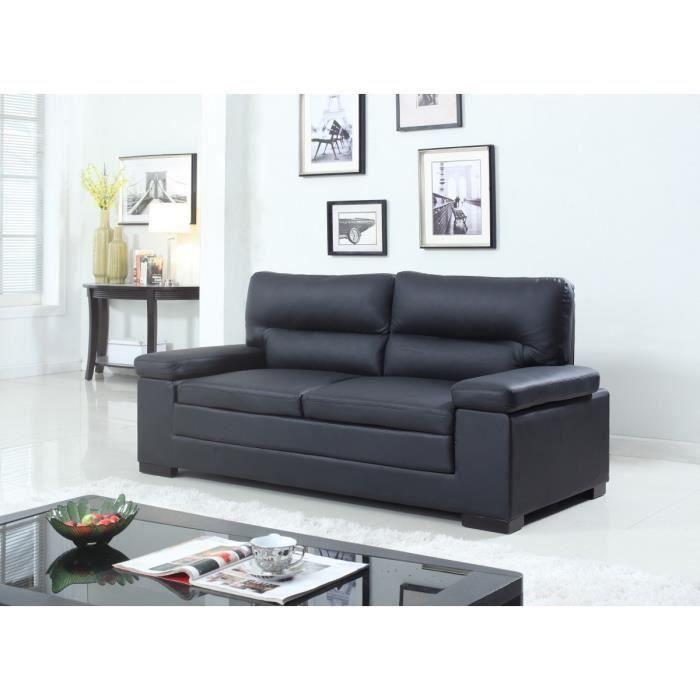 canap fixe en cro te de cuir 3 places 195x86x94cm noir. Black Bedroom Furniture Sets. Home Design Ideas