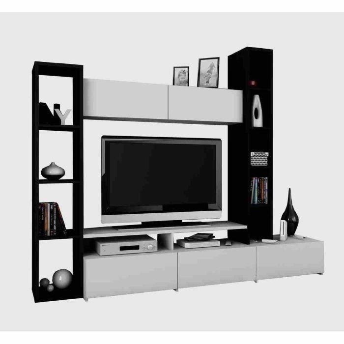 Wall meuble tv mural 211 cm b ne blanc meubles bon for Meuble tv mural 120 cm