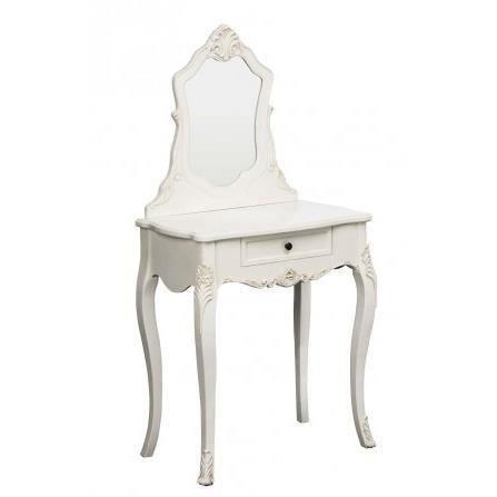 coiffeuse en bois blanc avec miroir moncornerdeco. Black Bedroom Furniture Sets. Home Design Ideas