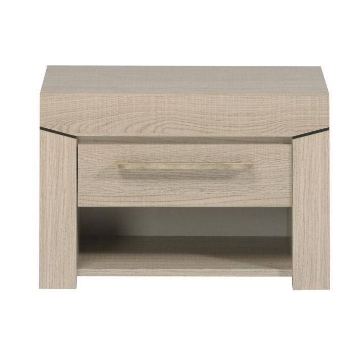 table de chevet 1 tiroir ch ne blanc elena moncornerdeco. Black Bedroom Furniture Sets. Home Design Ideas