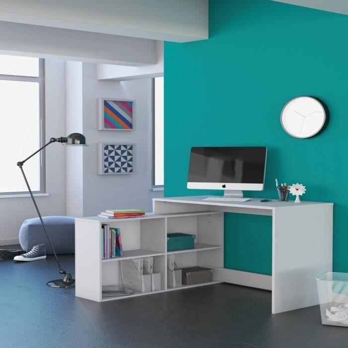 Bureau d 39 angle 100 x 111 cm 4 tageres blanc meubles for Meuble bureau 100 cm