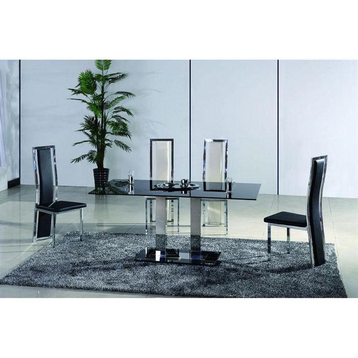 Table manger design et luxueuse verre noir hype salon for Table a manger verre noir