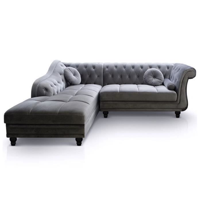 Canap d 39 angle gauche chesterfield velours argent salon salle manger bon prix for Chesterfield d angle