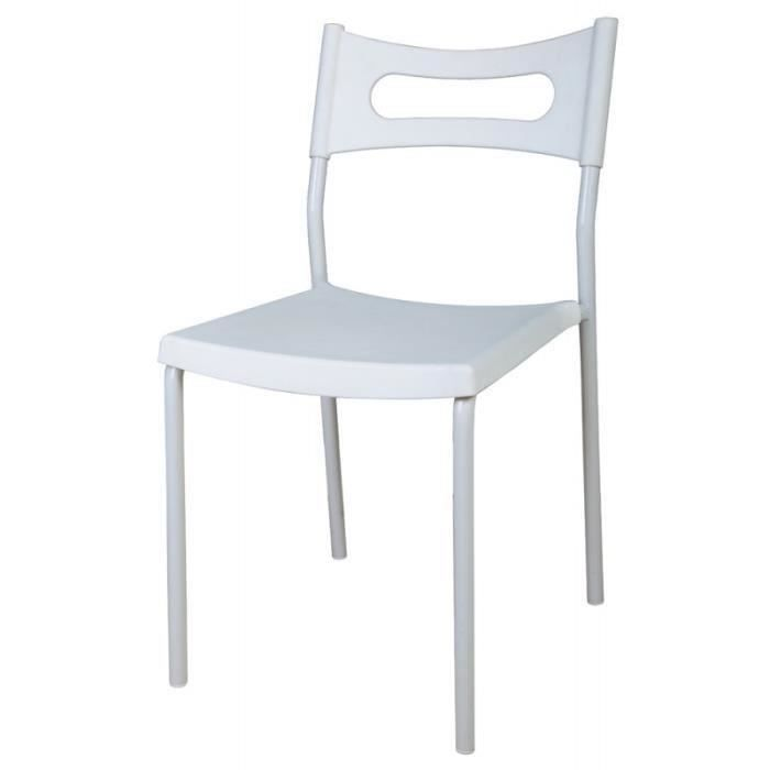Lot de 4 chaises blanches viva salon salle manger bon prix monc - Lot 4 chaises blanches ...
