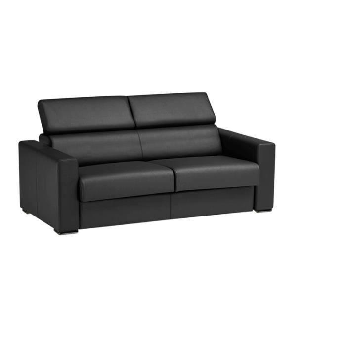 canap convertible omega vrai cuir gris 120x190 salon salle manger bon prix moncornerdeco. Black Bedroom Furniture Sets. Home Design Ideas