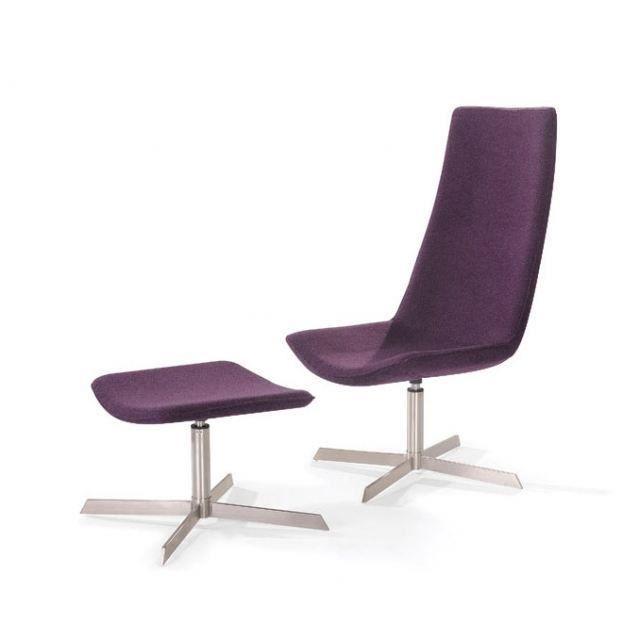 fauteuil lounge design violet avec repose pied salon. Black Bedroom Furniture Sets. Home Design Ideas