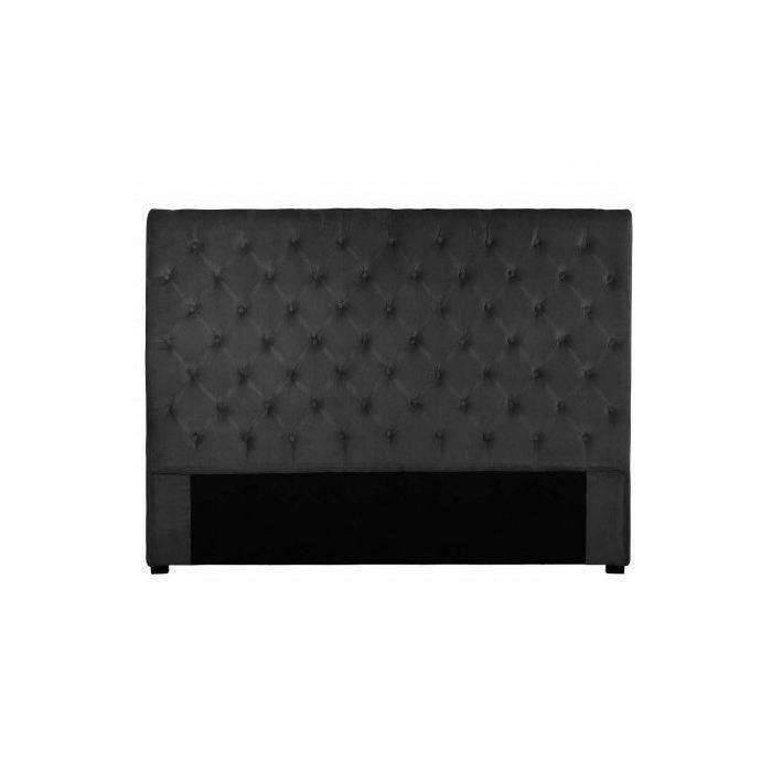 t te de lit capitonn e 160 cm velours anthracite a moncornerdeco. Black Bedroom Furniture Sets. Home Design Ideas