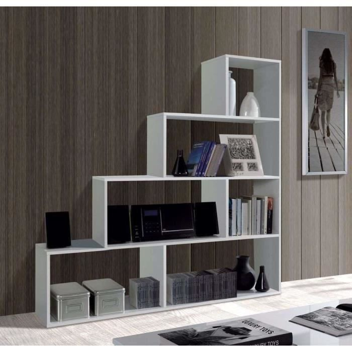 Etag re biblioth que escalier klum blanc brillant salon salle mange - Etagere escalier blanc ...