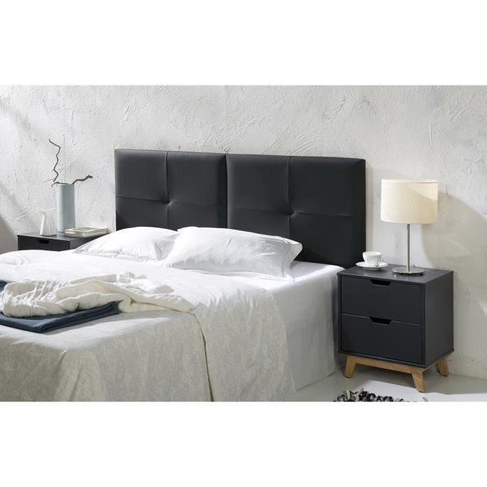 Capi t te de lit 160 cm en simili noir moncornerdeco - Tete de lit noir 160 ...