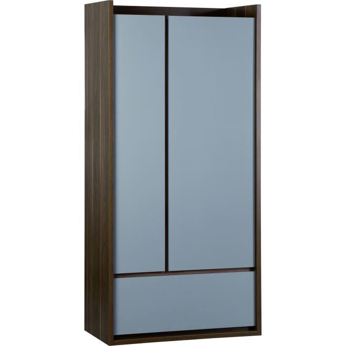 armoire 2 portes 1 tiroir ouverture push inbox chambre. Black Bedroom Furniture Sets. Home Design Ideas