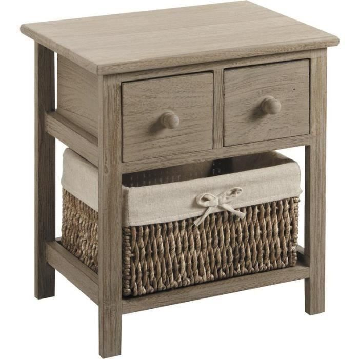 chevet table de nuit 3 tiroirs paniers moncornerdeco. Black Bedroom Furniture Sets. Home Design Ideas