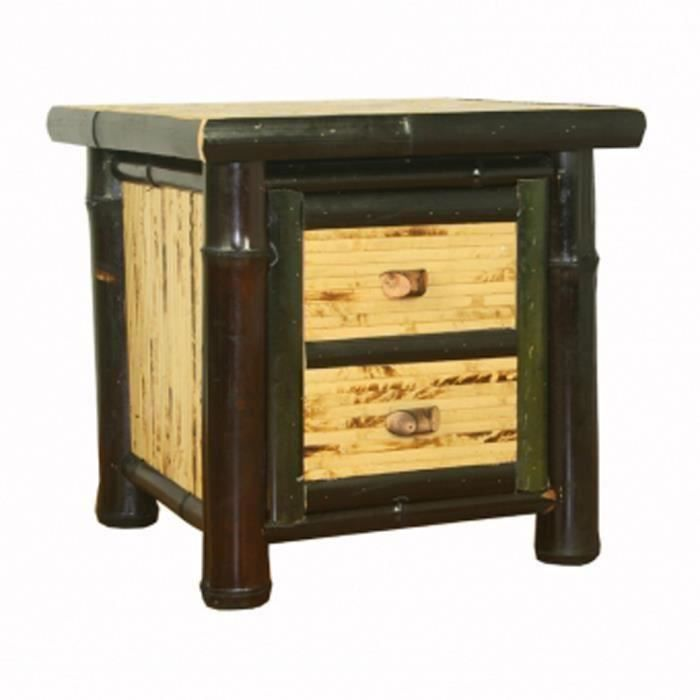 Commode table de nuit avec 2 tiroirs en bambou col for Table de nuit chinoise