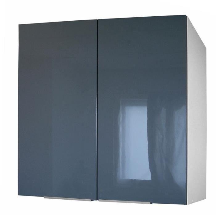 Caisson portes haut 80 cm gris haute brillance moncornerdeco - Meuble haut gris cuisine avec porte vitree 2 abattants ...