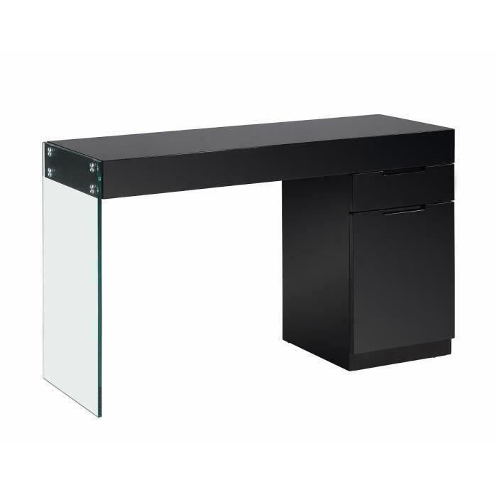 Bureau 121x42x75cm noir crea meubles bon prix for Bureau 75 cm