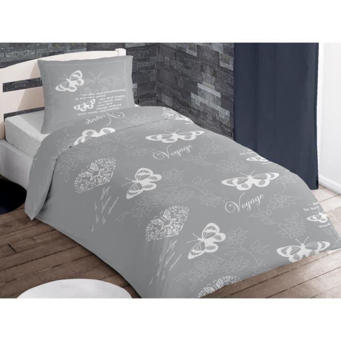parure housse de couette coton 1 place voyage gris moncornerdeco. Black Bedroom Furniture Sets. Home Design Ideas