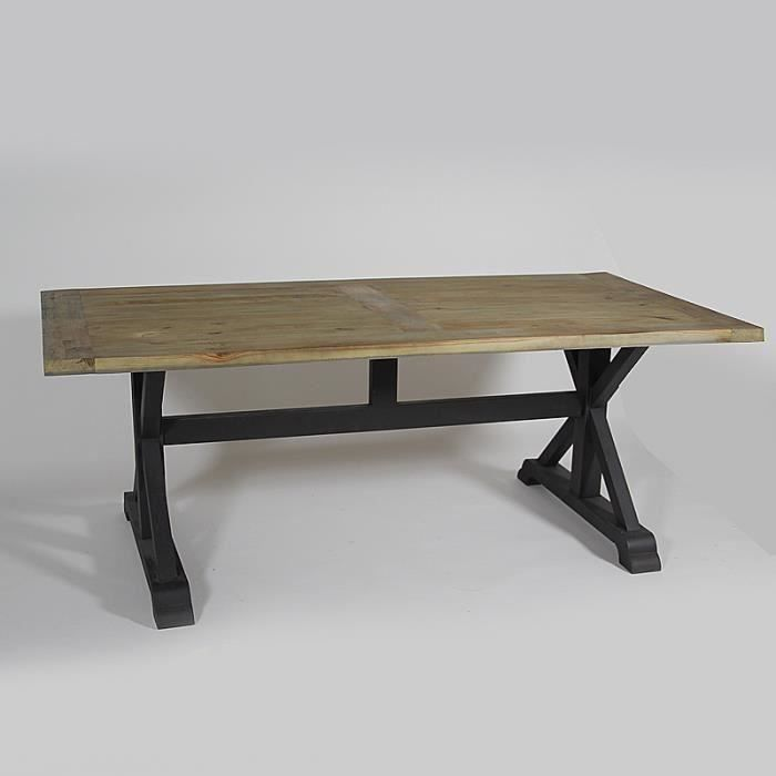 table en pin pied m tal noir bois salon salle manger bon prix moncornerdeco. Black Bedroom Furniture Sets. Home Design Ideas