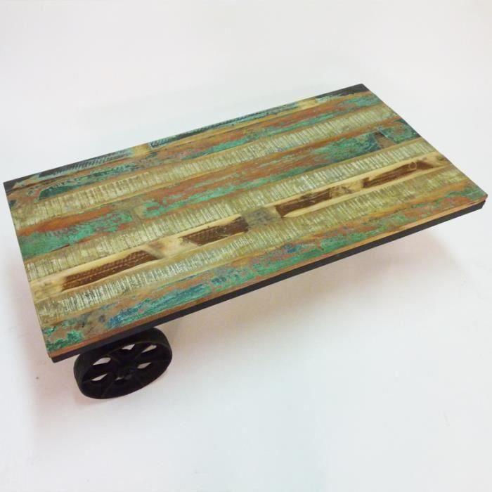 Table basse a roulettes metal et bois colore bon - Table basse colore ...