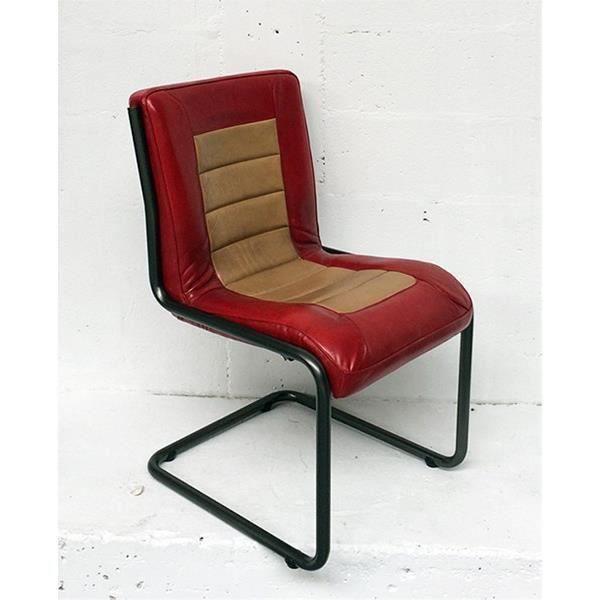 Chaise cuir de buffle cadillac rouge et d sert salon for Chaise salon cuir