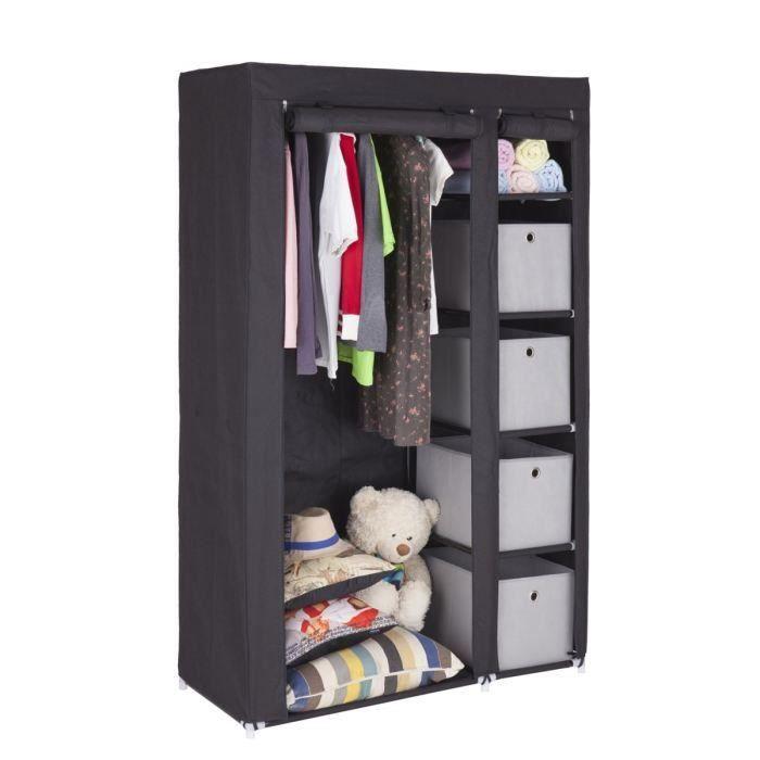 armoire penderie en m tal et tissu refermable chambre bon prix moncornerdeco. Black Bedroom Furniture Sets. Home Design Ideas
