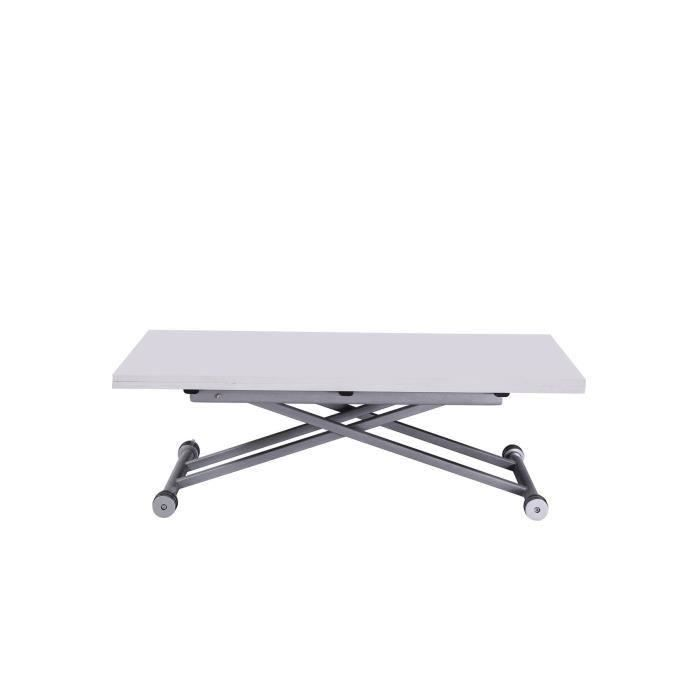Upper table relevable et extensible laqu e blanche salon salle mang - Table de salon relevable et extensible ...
